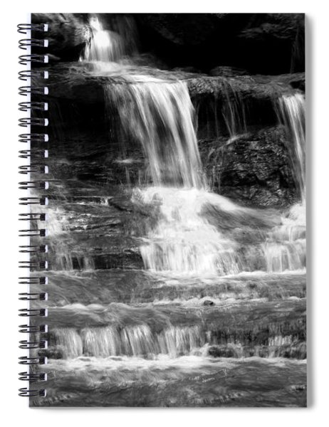 Waterfall Trio At Mcconnells Mill State Park In Black And White Spiral Notebook