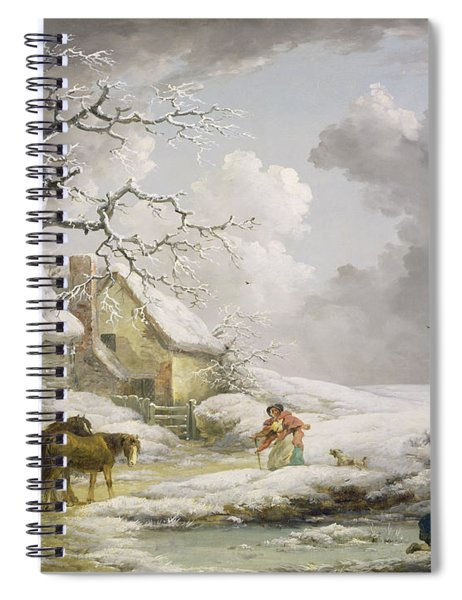 Winter Landscape With Men Snowballing An Old Woman Spiral Notebook