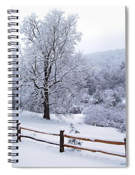 Winter Tree And Fence In The Valley Spiral Notebook
