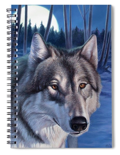 Wolf In Moonlight Spiral Notebook