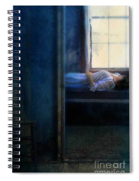 Woman In Nightgown In Bed By Window Spiral Notebook