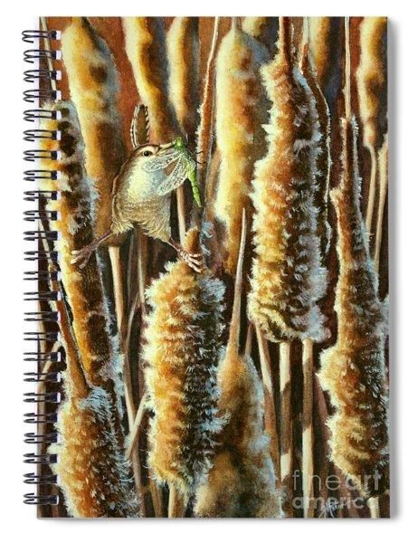 Wren And Cattails 2 Spiral Notebook