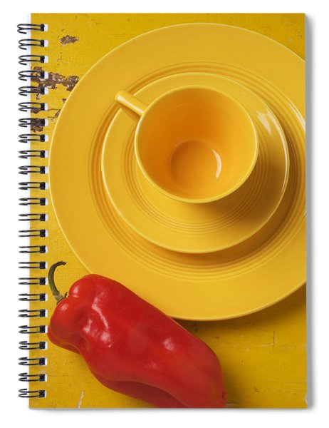 Yellow Cup And Plate Spiral Notebook
