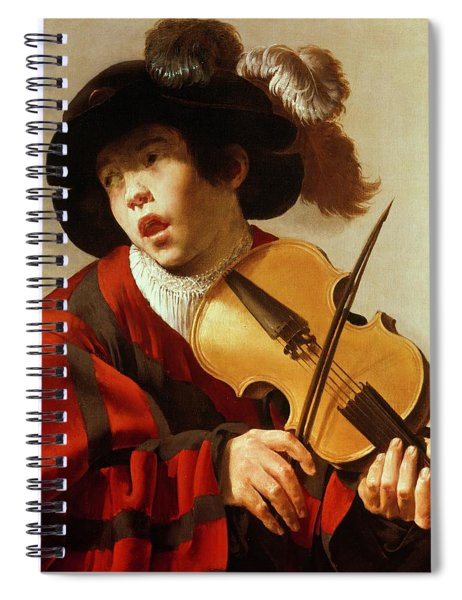 Boy Playing Stringed Instrument And Singing Spiral Notebook