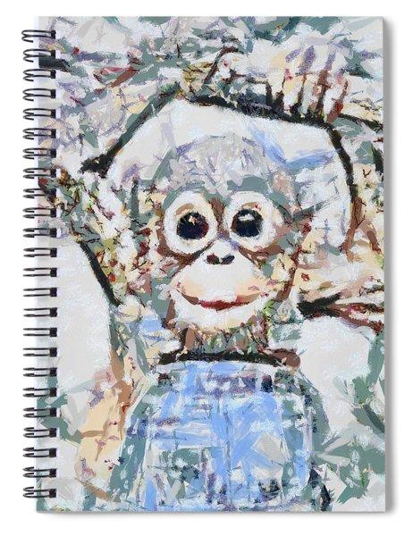 Monkey Rainbow Splattered Fragmented Blue Spiral Notebook