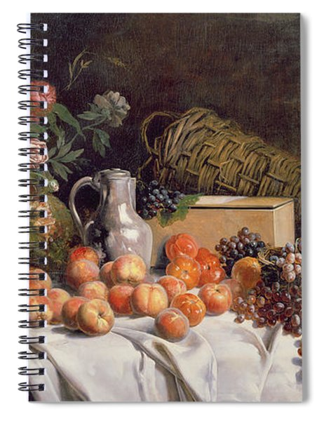 Still Life With Flowers And Fruit On A Table Spiral Notebook
