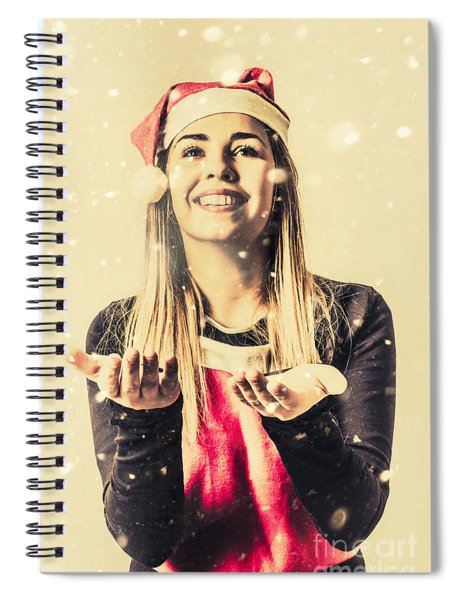 Vintage Girl Celebrating A White Christmas Spiral Notebook