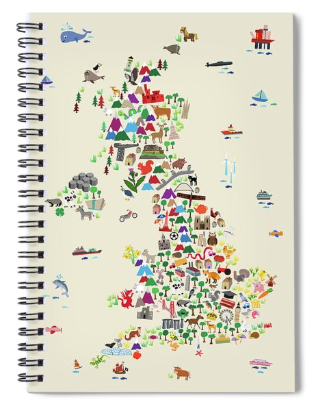 Animal Map Of Great Britain For Children And Kids Spiral Notebook