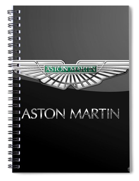 Aston Martin 3 D Badge On Black  Spiral Notebook