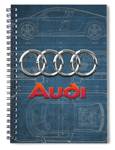Audi 3 D Badge Over 2016 Audi R 8 Blueprint Spiral Notebook