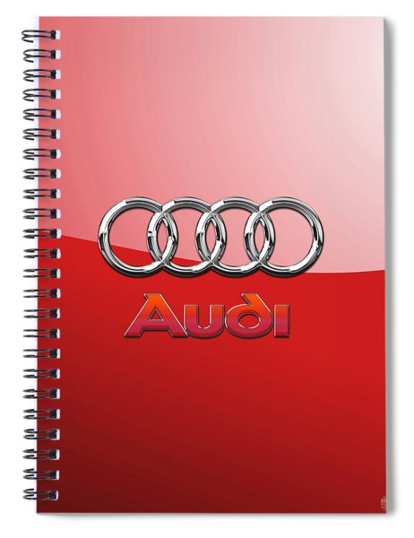 Audi - 3d Badge On Red Spiral Notebook