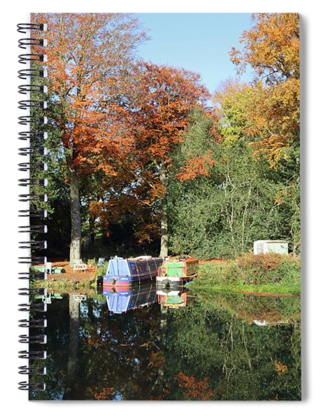 Autumn Reflections Wey Canal Surrey Uk Spiral Notebook