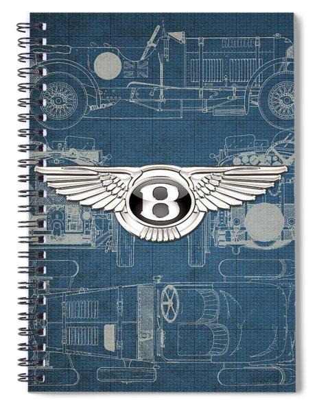Bentley - 3 D Badge Over 1930 Bentley 4.5 Liter Blower Vintage Blueprint Spiral Notebook