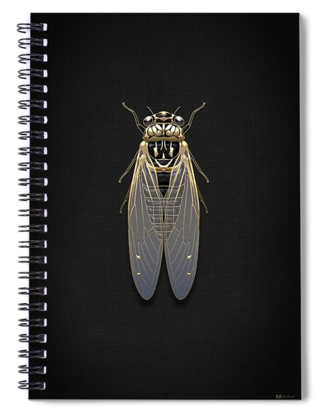 Black Cicada With Gold Accents On Black Canvas Spiral Notebook