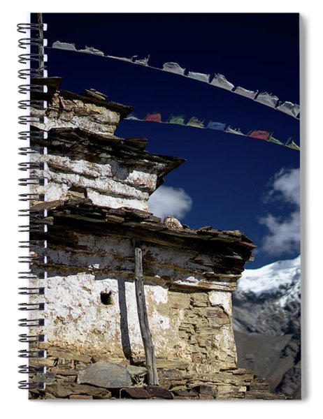 Buddhist Gompa And Prayer Flags In The Himalaya Mountains, Nepal Spiral Notebook