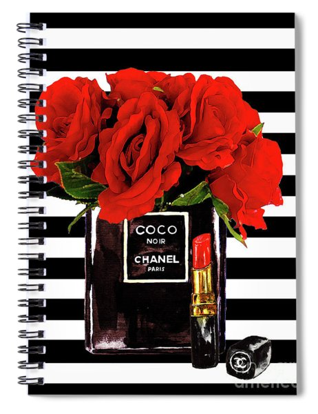 Chanel Perfume With Red Roses Spiral Notebook