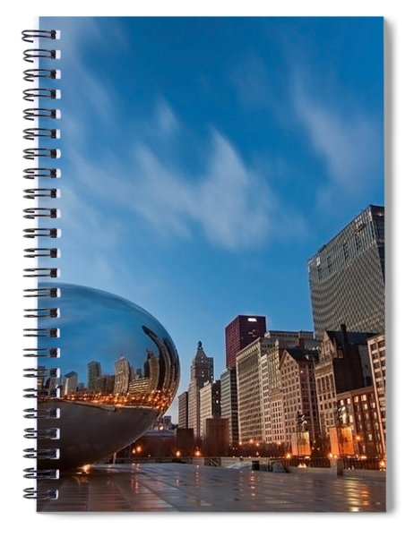 Chicago Skyline And Bean At Sunrise Spiral Notebook