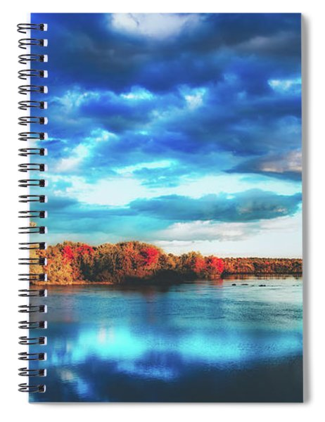 Cloudy Skies Over The Stillwater River Spiral Notebook
