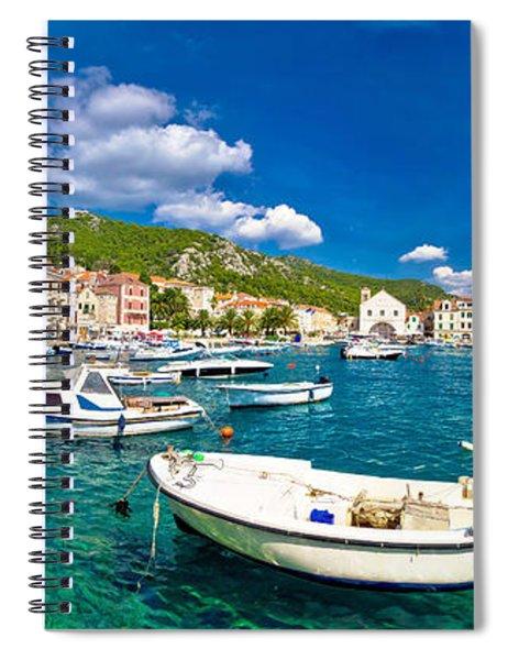 Coastal Town Of Hvar Waterfront Panorama Spiral Notebook