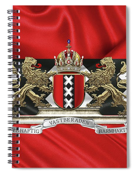 Coat Of Arms Of Amsterdam Over Flag Of Amsterdam Spiral Notebook