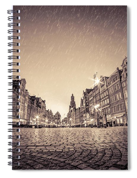 Cobblestone Historic Old Town In Rain At Night Wroclaw Spiral Notebook