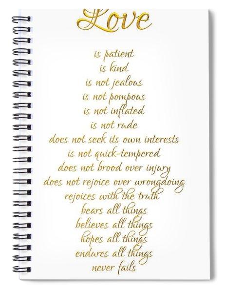 1 Corinthians 13 Love Is White Background Spiral Notebook