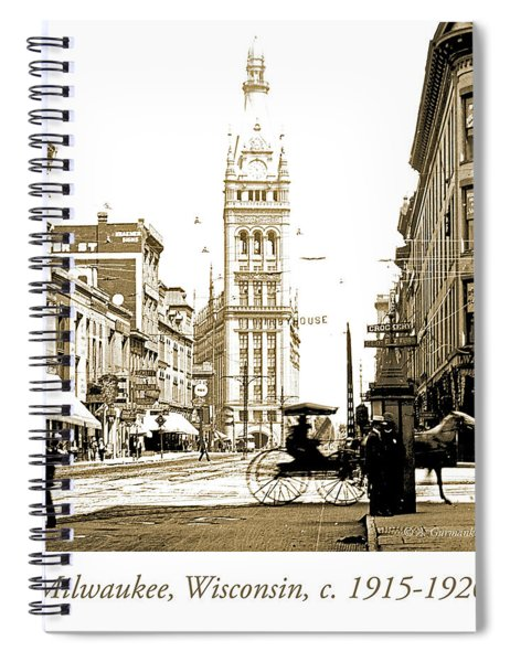 Downtown Milwaukee, C. 1915-1920, Vintage Photograph Spiral Notebook
