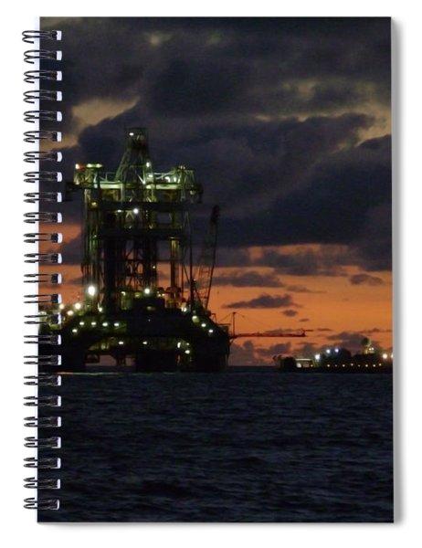 Drill Rig At Dusk Spiral Notebook