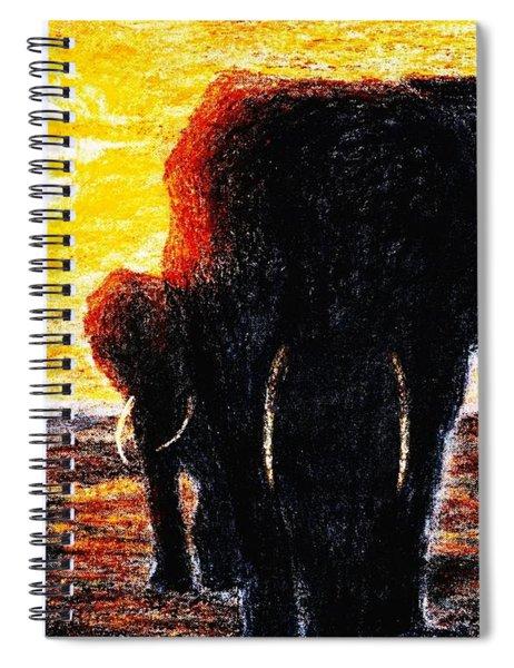 Elephant  Sunset Spiral Notebook