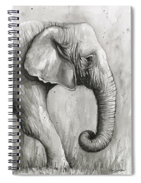 Elephant Watercolor Spiral Notebook