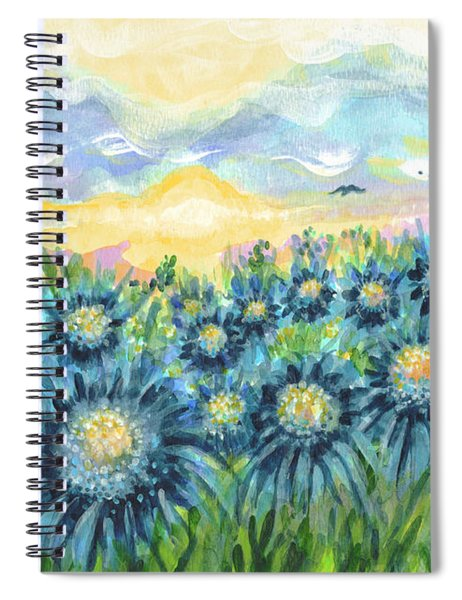 Field Of Blue Flowers Spiral Notebook