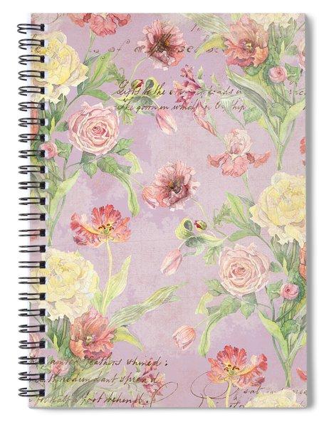 Fleurs De Pivoine - Watercolor In A French Vintage Wallpaper Style Spiral Notebook