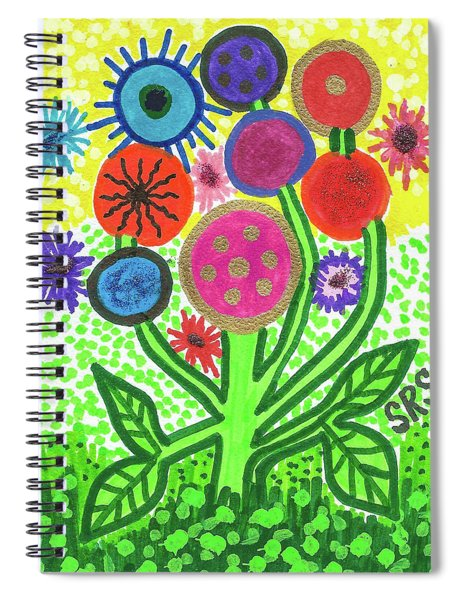 Flowers In The Round 9.7 Spiral Notebook