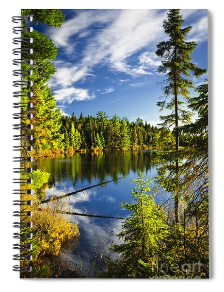 Forest And Sky Reflecting In Lake Spiral Notebook