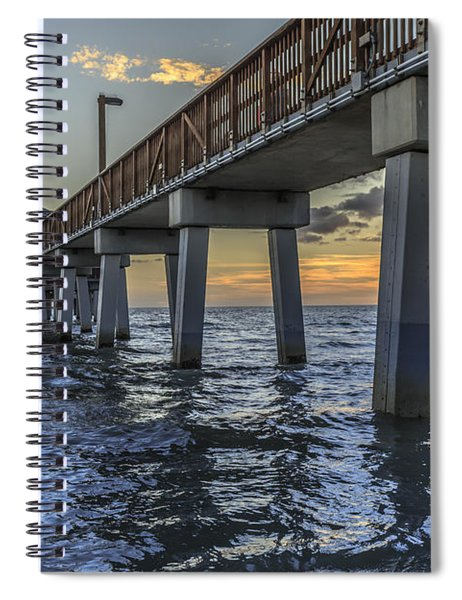 Fort Myers Beach Fishing Pier Spiral Notebook by Edward Fielding