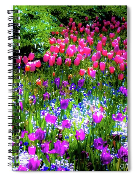 Garden Flowers With Tulips Spiral Notebook