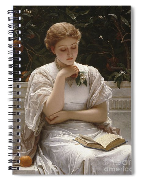 Girl Reading Spiral Notebook