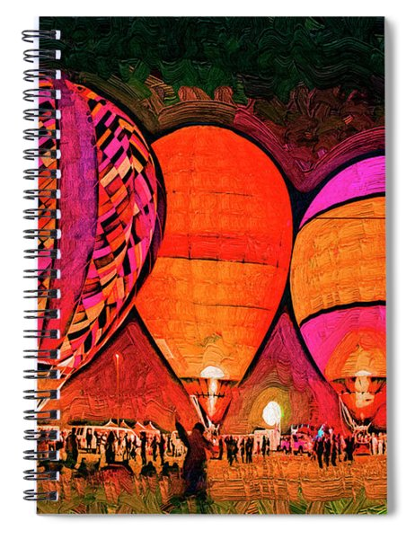 Glowing Hot Air Balloons In Abstract Spiral Notebook