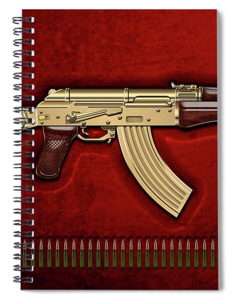 Gold A K S-74 U Assault Rifle With 5.45x39 Rounds Over Red Velvet   Spiral Notebook