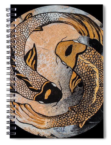 Golden Yin And Yang Spiral Notebook