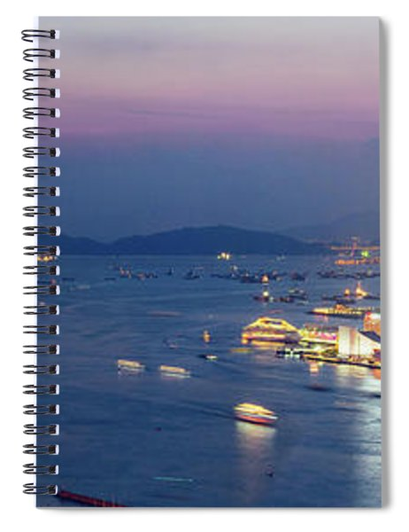 Hong Kong Harbor Super Panorama Night Scene Spiral Notebook