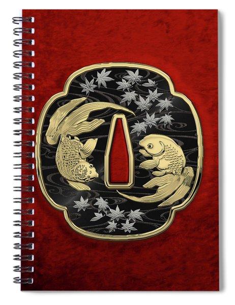 Japanese Katana Tsuba - Twin Gold Fish On Black Steel Over Red Velvet Spiral Notebook