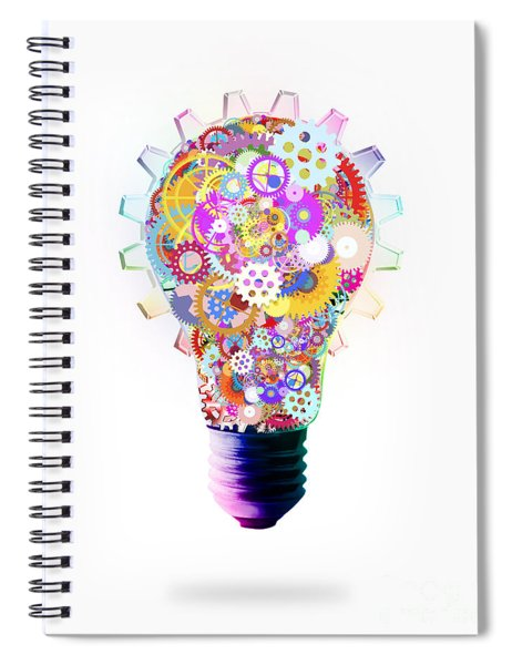 Light Bulb Design By Cogs And Gears  Spiral Notebook