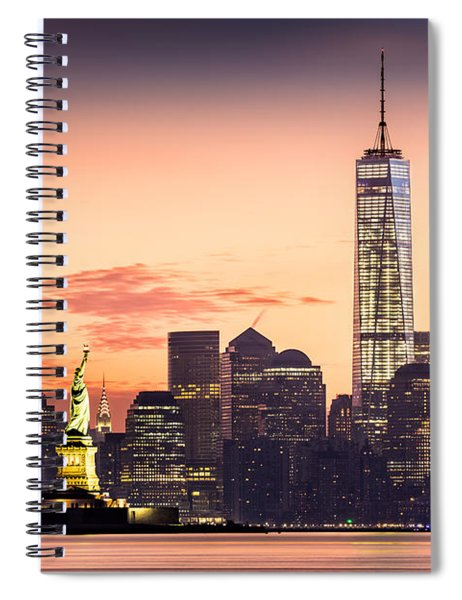 Lower Manhattan And The Statue Of Liberty At Sunrise Spiral Notebook