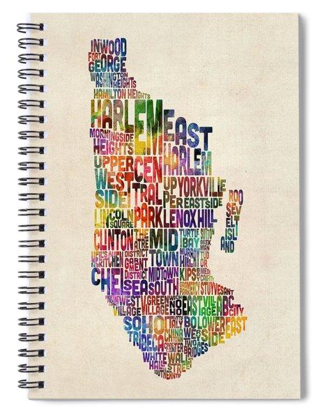 Manhattan New York Typographic Map Spiral Notebook