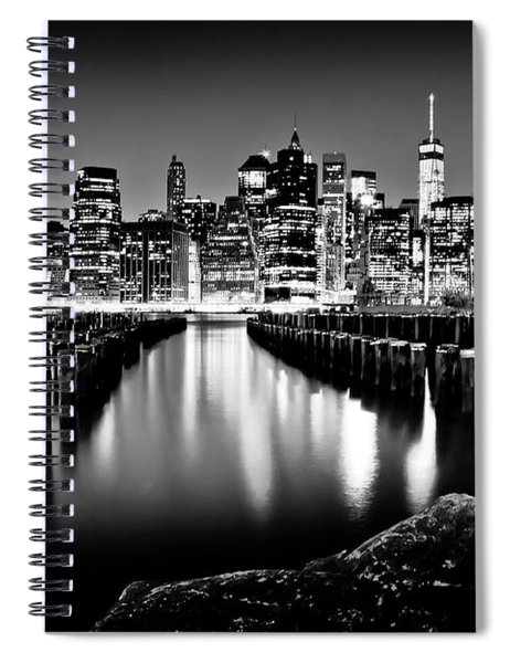 Manhattan Skyline At Night Spiral Notebook