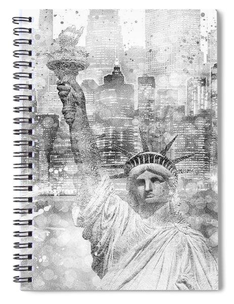 Manhattan Skyline - Graphic Art - White Spiral Notebook