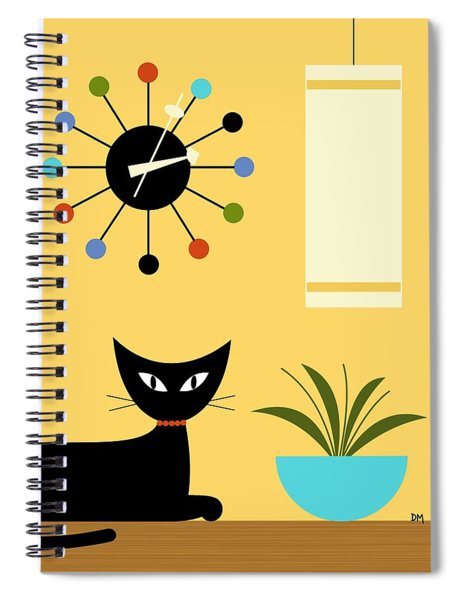 Mid Century Ball Clock 3 Spiral Notebook