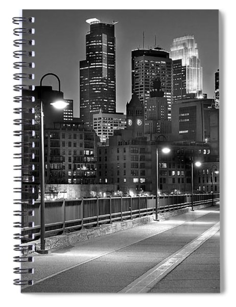 Minneapolis Skyline From Stone Arch Bridge Spiral Notebook