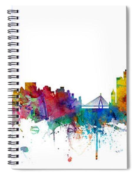 New York And Boston Skyline Mashup Spiral Notebook